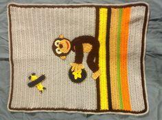 Baby boys blue and brown crochet monkey baby blanket/afghan. $60.00, via Etsy.