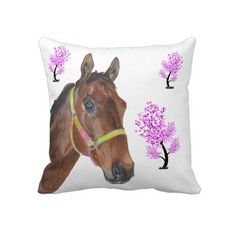 Cute little thoroughbred horse pillow. This pillow will look great in any room of your house! We also have more horse products available with cute horse jumper art.