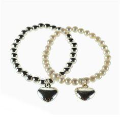 Juego de 2 pulseras bañadas en plata con perlas de agua dulce y detalle bañado en plata de Lisa Harris