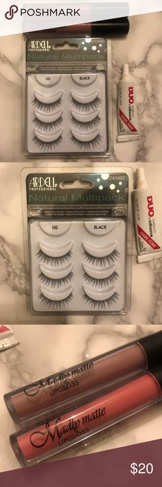 Beauty Bundle Eyelashes W/Glue Matte Lipsticks Ardell Natural Multipack Lashes : Natural 110 Black... *One pair missing *Duo lash Glue Dark Toned *packing stained in storage 2 Matte Liquid Lipsticks Pink and Lavender * only opened to Swatch Makeup False Eyelashes
