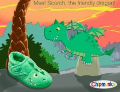 Meet Scorch....our friendly dragon!  Coming soon!  #dragon #slippers #chipmunks #childrens #footwear