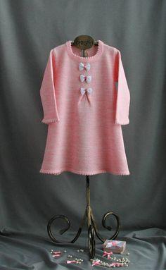 cute pink girl's dress woolblend warm dress