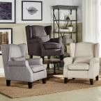Pradera Charcoal (Grey) Linen Wing Back Arm Chair