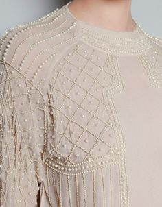 EMBROIDERED BLOUSE WITH PEARLS - Shirts - Woman - ZARA United States