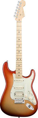 :Fender American Deluxe Strat® HSS Electric Guitar, Sunset Metallic, Maple Fretboard