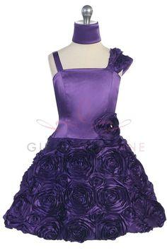 Purple Rosette Accented One Shoulder Flower Girl Dress G3180P $51.95 on www.GirlsDressLine.Com