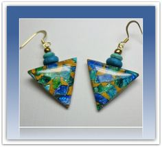Turquiose Gold Triangle Ethnic Earrings, polymer clay jewelry. $12.00, via Etsy.