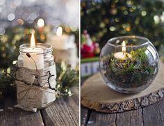Pots Masson ou bocal à poisson ? Les deux sont très utiles afin de concevoir un petits centres de table au look nature avec quelques branches. Attention au feu et assurez vous de toujours les garder à l'oeil !