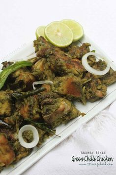 Green chilli chicken is a spicy and delicious chicken dry roast recipe. The chicken is cooked along a bunch of green goodness. Try this versatile chicken recipe and you will make it often. It is a perfect side dish for Indian flat bread. Indian Chicken Dishes, Indian Chicken Recipes, Indian Dishes, Indian Food Recipes, Chicken Starter Recipes, Veg Recipes, Curry Recipes, Cooking Recipes, Goan Recipes
