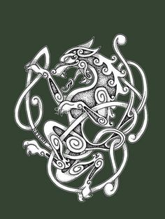 'Varg' T-Shirt by Skandihooligan – Design Fenrir Tattoo, Norse Tattoo, Celtic Tattoos, Viking Tattoos, Celtic Wolf Tattoo, Tattoo Symbols, Celtic Tribal, Celtic Art, Norse Runes