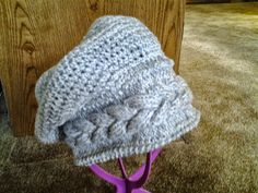 Cable Slouchy Hat by CuddleinCrochet on Etsy