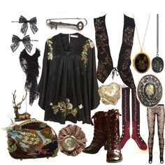 Dolly Kei Forest Princess by dollymacabre on Polyvore featuring Ann Demeulemeester, Kova & T, Mary Frances Accessories, Avalaya, Lulu Frost, Oasis, Miss Selfridge, Goti, BB Dakota and dolly kei