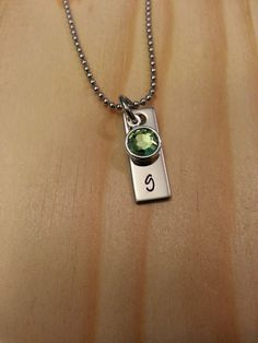 Hand stamped personalized initial name necklace with birthstone.  Cute for kids!
