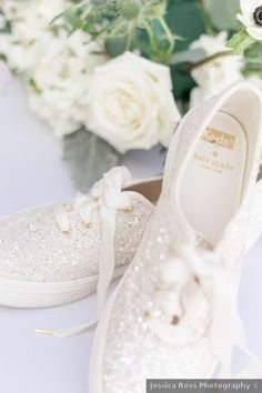 Wedding shoes ideas - sparkle, keds, white, glam, glitter, bedazzled {Jessica Ross Photography}