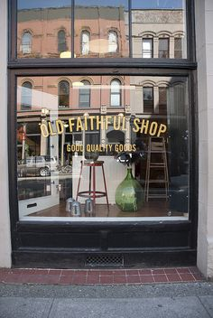 Looks just lovely-- am intrigued with old stuff-- including my hubby of 25 years-- tee hee -- Old Faithful Shop Boutiques, Vancouver, Idaho, Window Graphics, Sign Writing, Window Signs, Old Faithful, Lovely Shop, Cafe Shop