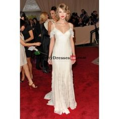 Taylor Swift Off-the-shoulder White Long Formal Evening Prom Gown Celebrity Dress Met Gala 2010
