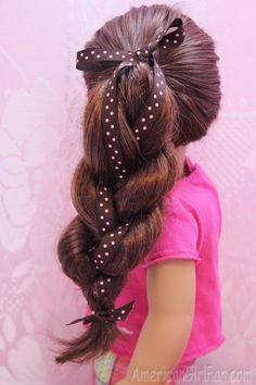 Doll Hairstyle: Ponytail Braid with Ribbon! - http://www.americangirlfan.com/2014/06/american-girl-doll-hairstyle-ponytail-braid-with-ribbon.html