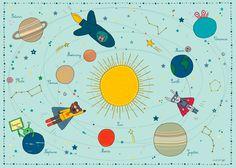 Affiche Enfant thème Espace - Système Solaire - Amélie Biggs