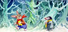 The Wind in the Willows: Mole meets Rabbit in the Wild Wood (Original) art by Wind in the Willows (Mendoza) at The Illustration Art Gallery