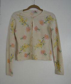 Very Rare Anthropologie Lambswool Angora Spring Bouquet Cardigan Sweater Top XS    eBay