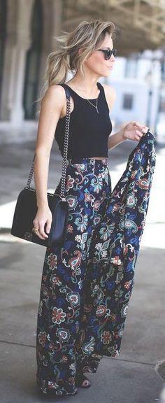 #spring #outfits Black Crop Top + Black Printed Maxi Skirt