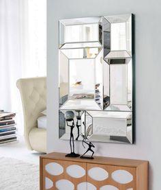 Espejo decorativo rectangular de cristal con marco formado for Espejos modernos baratos