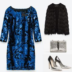 Blue sequinned mini dress party outfit idea. Zara 2016 winter collection blue mini dress, black fringed jacket, silver high heels and silver crossbody bag.