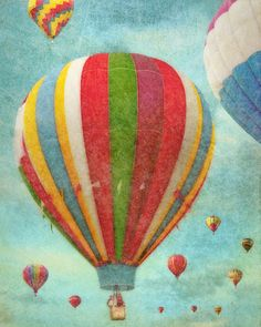 Hot Air Balloons 3  blue green  green  red  by FloatingLeafArts