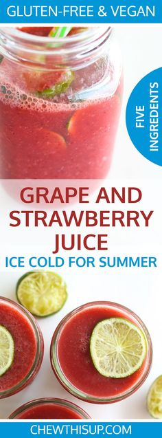 This ice cold grape and strawberry juice is my new favorite summer drink.You can make this with only 5 ingredients and 5 minutes of preparation! #strawberry #glutenfree #vegan #vegandrinks #gfdrinks #juice #summerdrinks grain free, egg free, gluten free,