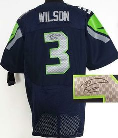 Nike Seattle Seahawks 3 Russell Wilson Blue Elite Signed NFL Jerseys bc69c010c2ea6