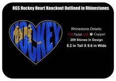 Hockey Heart Shaped Knockout Outlines with Rhinestones Instant Download by RhinestonesandGraphi on Etsy