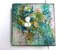 Wonderful OOAK Original Mixed Media Canvas- DREAM  6 x 6 x 1.5 inches