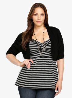 Shirred Sleeve Shrug | Torrid, I like the top under the shrug.