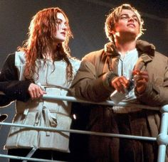 Leonardo dicaprio and Kate Winslet on set of titanic