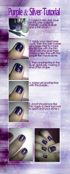 Purple + Silver Nail Tutorial by JemNailArt.deviantart.com on @deviantART