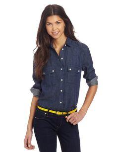 Bb Dakota Women's Natania Button Down Shirts, Denim, Small