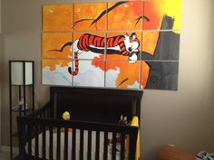 Calvin & Hobbes Nursery - Would make one of the strips: a square on each canvas