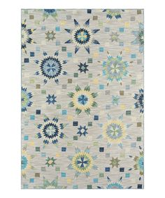 Look what I found on #zulily! Gray & Blue Geometric Hooked Rug by Momeni Rugs #zulilyfinds