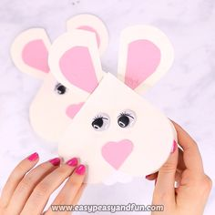 Heart Bunny Crafts - Cute Valentine& Day or Easter Crafts Idea, # craft . - Heart Bunny Crafts – Cute Valentine& Day or Easter Crafts Idea, - Bee Crafts, Bunny Crafts, Easter Crafts For Kids, Toddler Crafts, Flower Crafts, Preschool Crafts, Paper Crafts, Easter Activities, Preschool Kindergarten