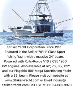 Fishing Yachts, Fishing Boats, Big Yachts, Yacht World, Yacht Builders, Yacht Design, Sport Fishing, Monte Carlo, Rolls Royce