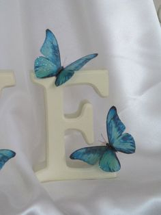 S and J letter-----10 Beautiful 3D ExoticTeal Blue Sparkling Wedding Butterflies Flower- Table Decorations