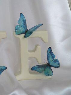10 Beautiful 3D ExoticTeal Blue Sparkling Wedding Butterflies Flower- Table Decorations