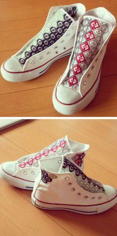 Kogin Embroidered All Stars  Kogin is a style of sashiko stitching