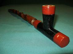 TP021  Catlinite& Steatite T Pipe and Sumac Stem - Native American Style