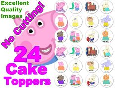 24 Peppa Pig Edible Fairy Cake Cupcake Toppers Already Cut Out