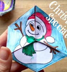 Easy paper toy -  flexagon kaleidocycle with winter motifs // Varázslatos forgatható papír játék téli motívumokkal  // Mindy - craft tutorial collection