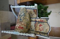 Upholstered antique rocking chair with linen, painted with chalk paint by ThePaintFactory