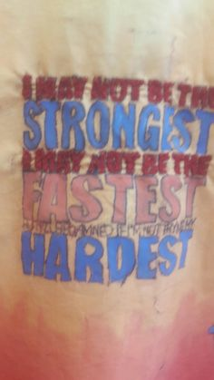 Hard work quotes typography/ Monoprint/ free- hand stitching part of a quoted dress