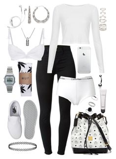 """""""movie night with fam"""" by milean ❤ liked on Polyvore featuring MCM, J Brand, Topshop, Vans, Myla, Calvin Klein, Bamboo, MAC Cosmetics, PhunkeeTree and Casio"""