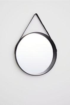 H & M Round Mirror with Leather Frame - Black - Mirror Black Round Mirror, Round Mirrors, Mirrors With Leather Straps, Schwarz Home, Cordon En Cuir, Hm Home, Home Decor Hacks, Living Room Mirrors, Handmade Home